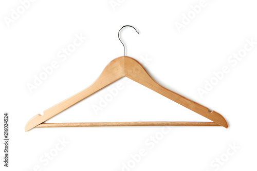 Fotografía  Wooden hanger isolated on white background