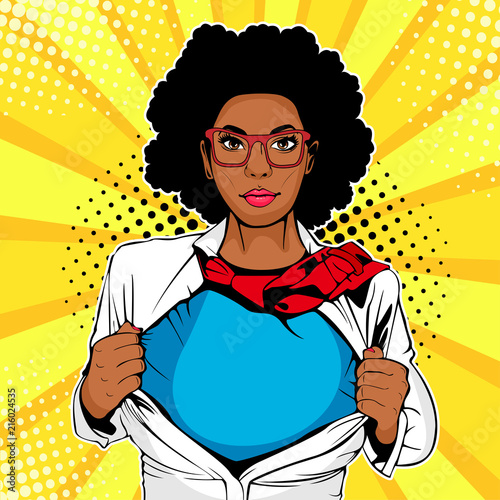 Pop art female afro american superhero Wallpaper Mural