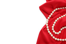 Pearl Necklace With Red Satin ...