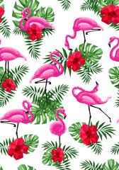 Fototapetaflamingo pink hibiscus monstera palm leaves low-polygonal triangulation pattern EPS 10