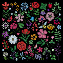 Embroidery Elements. Flowers, ...