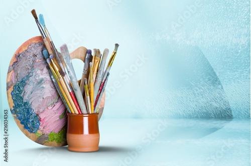 Fotografia, Obraz Wooden art palette with blobs of paint