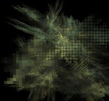 Camouflage Pixel Fractal Blurred On A Black Background.