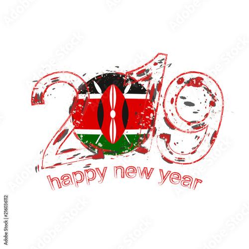 Fotografía  Happy New 2019 Year with flag of Kenya