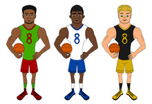 Cartoon Of Diverse Basketball ...