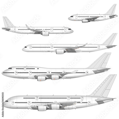 realistic passenger airplanes set. side view. Wall mural