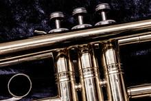 Trumpet Valves Closeup Against...