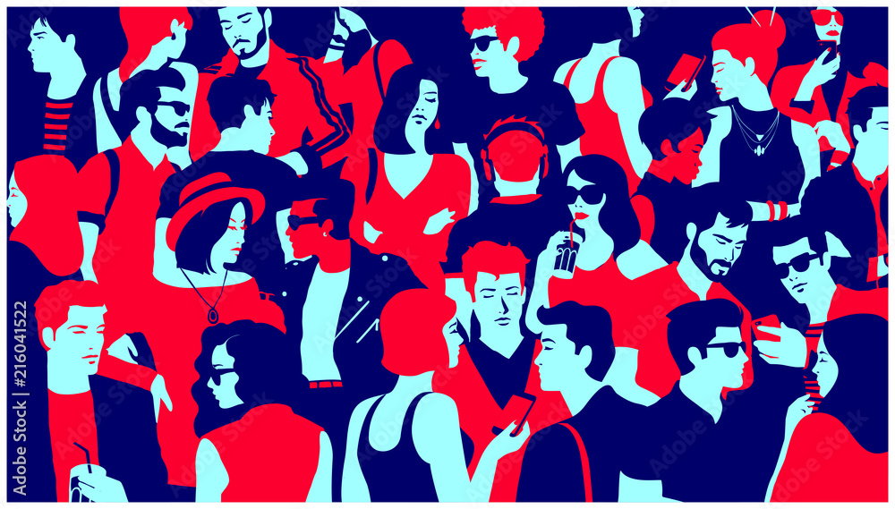 Fototapety, obrazy: Stylized silhouette of crowd of people, casual mixed group of young adults hanging out, chatting or drinking gathered for nightlife event, simple minimal pop art style flat design vector illustration