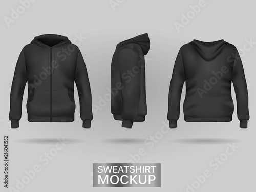 Fotografija Black sweatshirt hoodie template in three dimensions: front, side and back view, realistic gradient mesh vector