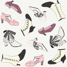 Vintage Shoes. Hand Drawn Vector Illustration. Retro Women's Shoe Card, Invitation, Background. 1920s Feminine, Fashion, Style. Pastel Colors. Graphic Resources, Clip Art.