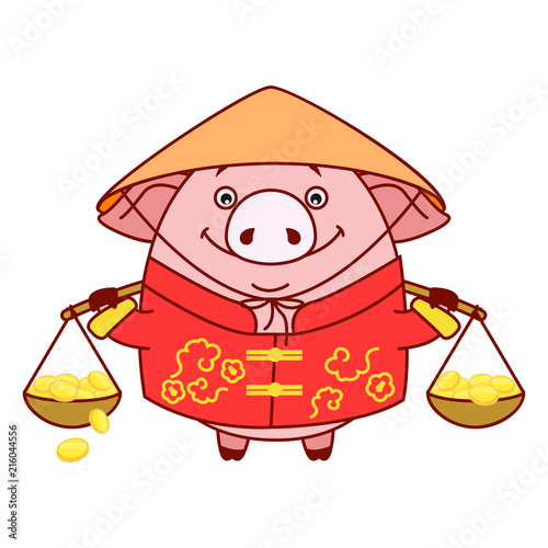 Piggy In National Dress Carrying Baskets Of Gold The Symbol Of The