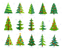 Christmas Trees Icon Set Isola...
