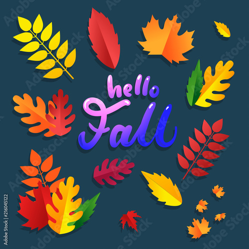 Colorful Autumn Leaves Set With Brignt Lettering Inscription Hello Fall Isolated On Blue Background Cute Fall Leaves For Decorations Flyers Posters Etc Buy This Stock Vector And Explore Similar Vectors At
