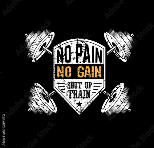 Fotografie, Obraz  No pain no gain Gym motivational print with grunge effect, barbell and black background