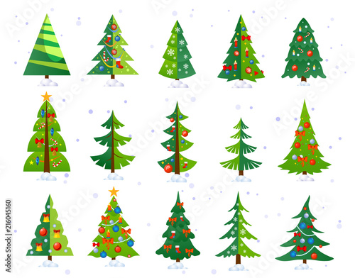 Christmas trees icon set isolated on white background. Cute Christmas trees with toys and snow. New year decorations. Vector ilustration. Wall mural