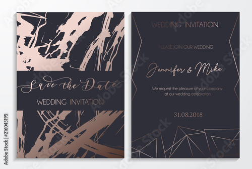 Fototapeta Save The Date Wedding Invitation Cards On Dark And Platinum Textured Background With Lettering And Geometric Lines Elegant Design Template