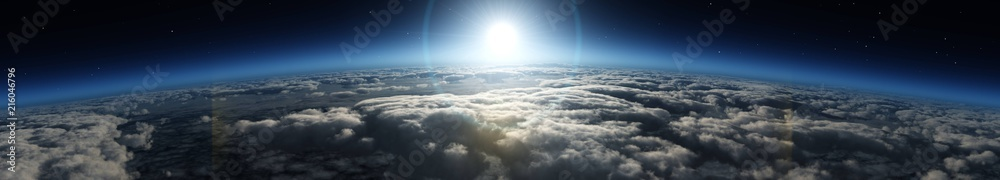 Fototapety, obrazy: Sunrise over the planet. Panorama of clouds under the sun.