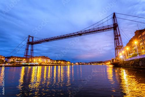 panoramic view of vizcaya bridge in Basque country, Spain