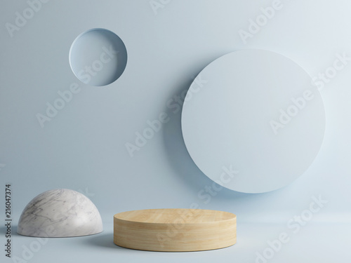 Vászonkép Wooden floor, minimal abstract scene, 3d render, 3d illustration