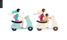 Girl On A Scooter - Two Flat Vector Concept Illustrations Of A Girl Wearing Helmet Riding A Scooter, A French Bulldog On Her Lap Wearing Small Helmet