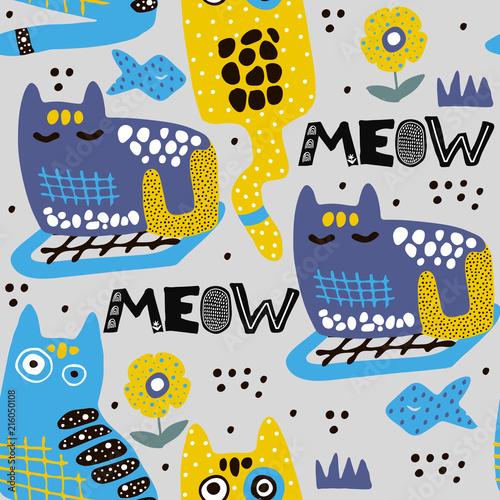 wzor-z-kotow-kreskowka-kocieta-w-stylu-skandynawskim-bezszwowa-dzieciak-ilustracja