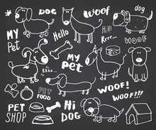 Funny Dogs Doodle Set. Hand Drawn Sketched Pets Collection Vector Illustration On Chalkboard Background.
