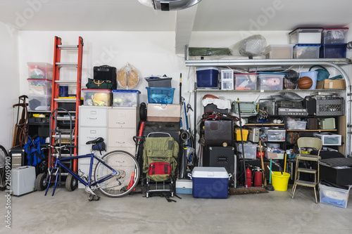 Garage storage shelves with vintage objects and equipment. Fototapeta