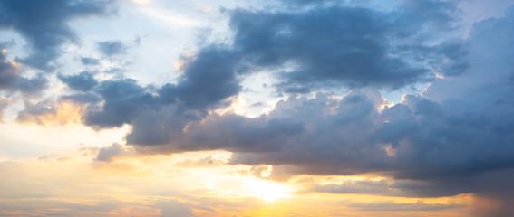 Panorama sunset sky background