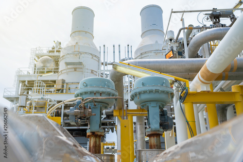 Photo Actuated control valve on offshore oil and gas central processing platform for adjust flowing pressure and level control by both programmable logic controller PLC automatic and manual function