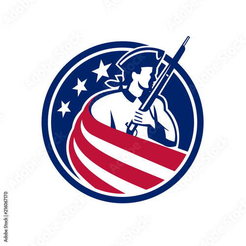 Slika na platnu American Patriot USA Flag Icon