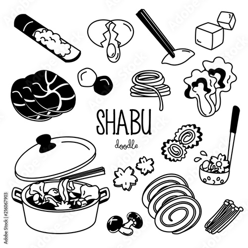 Photo  Shabu menu doodle. Hand drawing styles for shabu menu