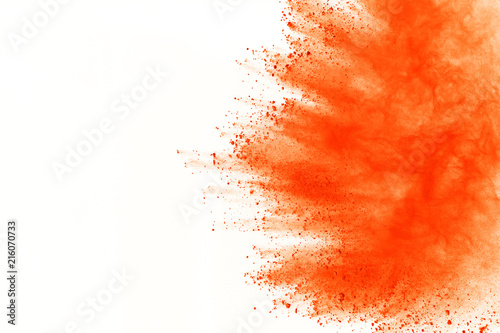 Explosion of colored powder, isolated on white background. Abstract of colored dust splatted. Color cloud. - 216070733