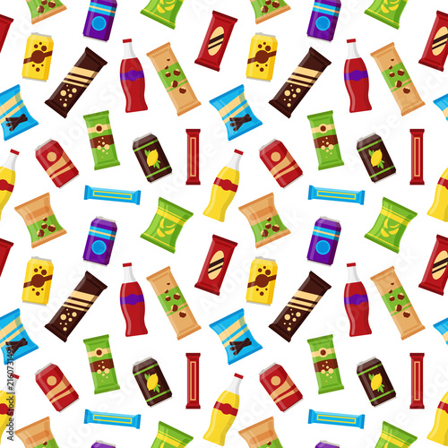 Fototapeta Seamless pattern snack product for vending machine. Fast food snacks, drinks, nuts, chips, juice for vendor machine bar on white background. Flat illustration in vector obraz