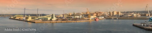 Panorama view of the Port of La Coruña, Spain.