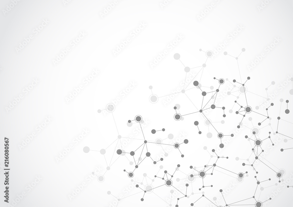 Fototapeta Molecular structure abstract tech background. Medical design. Vector illustration