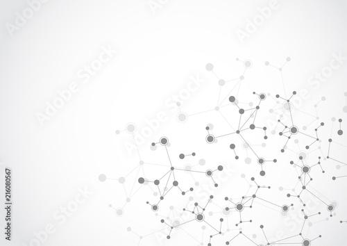 Obraz Molecular structure abstract tech background. Medical design. Vector illustration - fototapety do salonu