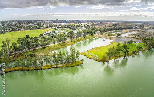 In de dag Olijf Murray River and Berri town in Riverland, South Australia - aerial panorama