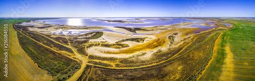 Tuinposter Canarische Eilanden Aerial panorama of pink salt lake Tyrrell in Victoria, Australia