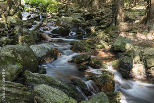 The flowing river between stones in nature and forest.