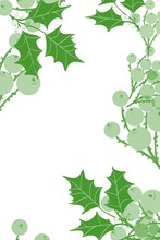 Holly And Berries Holiday Fall Winter Background Hand Drawn  Border