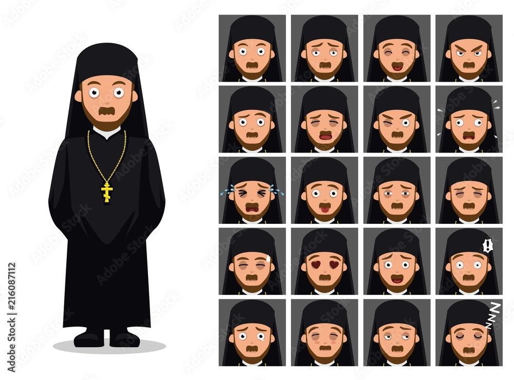 Fototapety, obrazy: Religion Orthodox Priest Cartoon Emotion Faces Vector Illustration