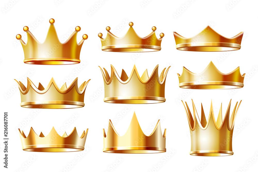 Fototapeta Set of golden crowns for king