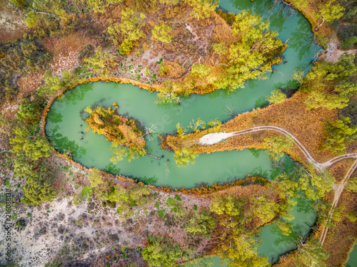 Wall Murals Air photo Looking down at magnificent meandering Murray River. Riverland, South Australia, aerial view.
