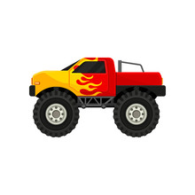 Bright Red Monster Truck With Yellow Flame Decal. Heave Car With Large Tires And Black Tinted Windows. Flat Vector Icon