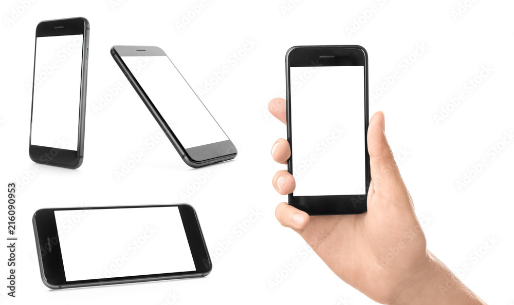 Fototapety, obrazy: Set with smartphones on white background. Mockup for design