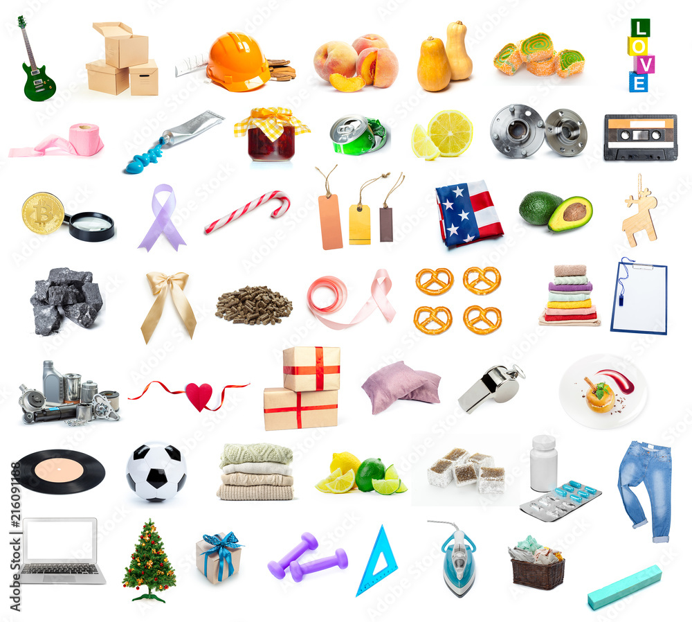 Fototapety, obrazy: big collection of different objects isolated on white background