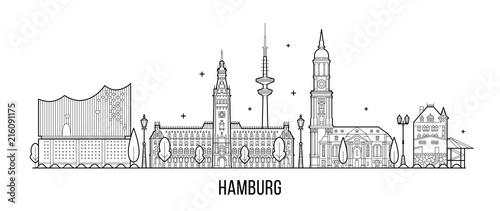 Fotografiet  Hamburg skyline silhouette vector linear style
