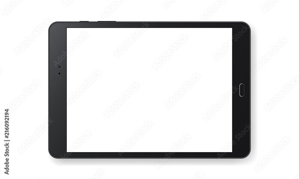 Fototapeta Horizontal black tablet computer mockup isolated on white background - front view. Vector illustration