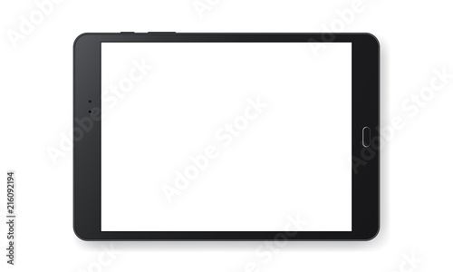 Horizontal black tablet computer mockup isolated on white background - front view Obraz na płótnie