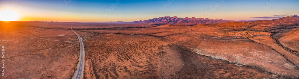 Fototapeta Wide aerial panorama of Flinders Ranges at sunset